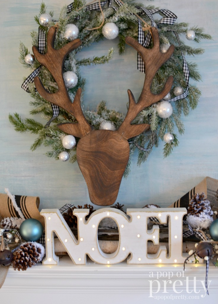 French inspired Christmas fireplace mantel