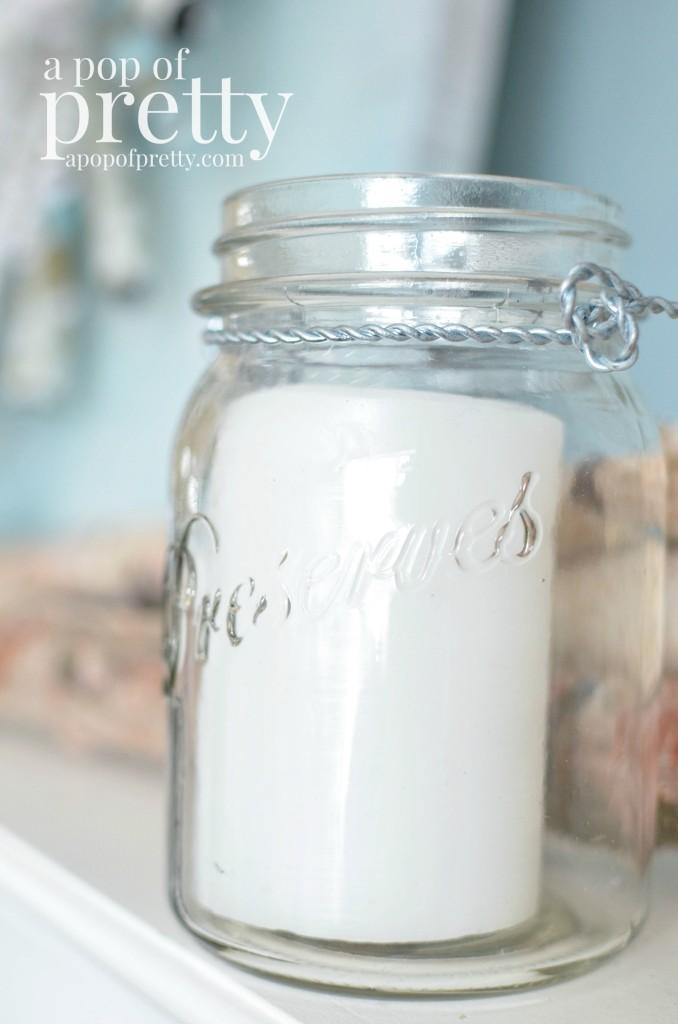 winter mantel mason jar