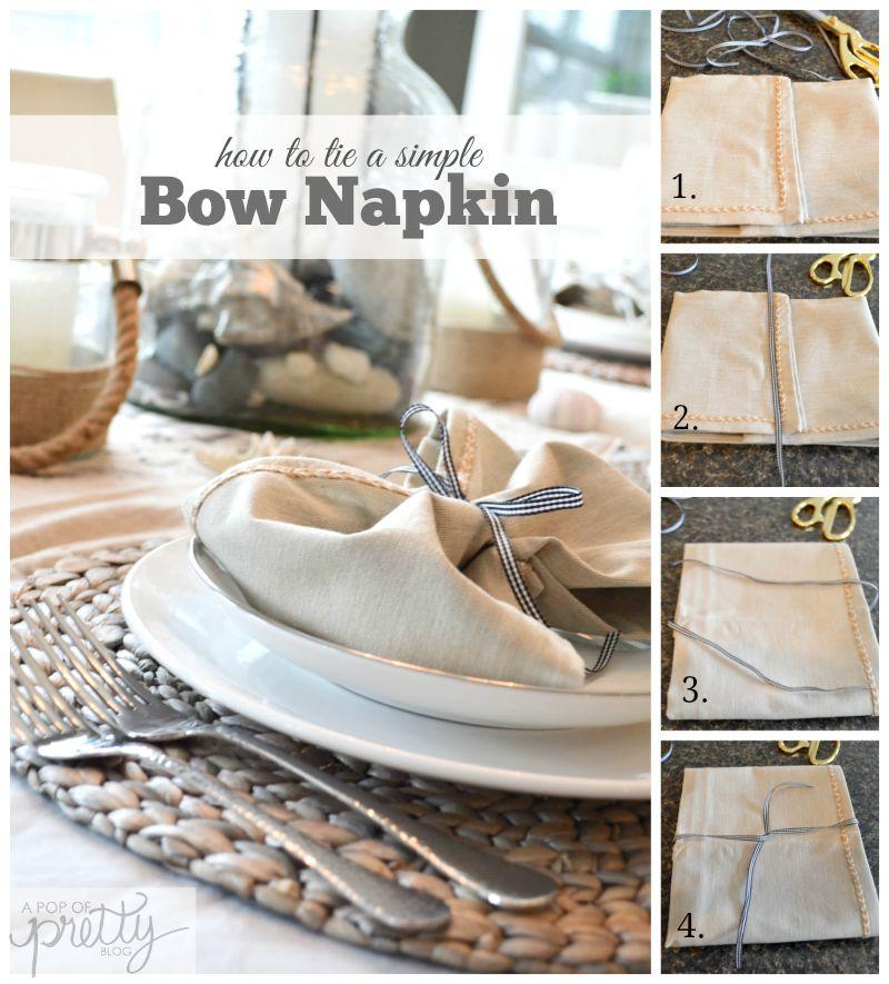 how to tie napkins into pretty bows