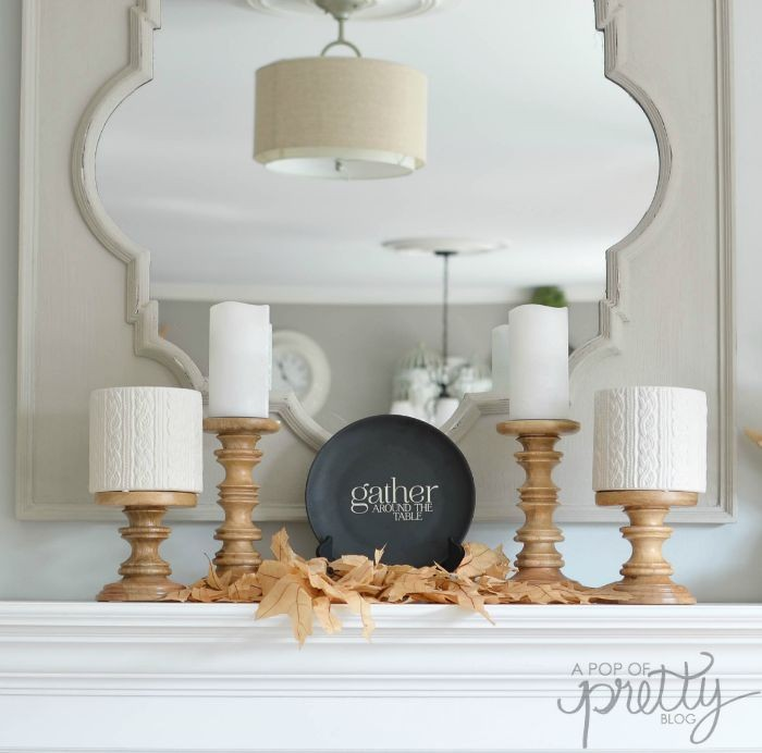 simple fall mantel with neutrals