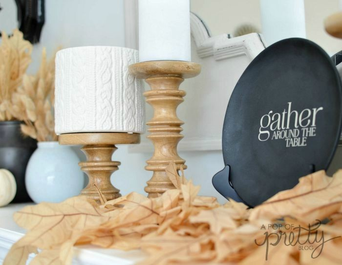 simple Fall mantel with Chapters Indigo gather plate