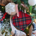 red plaid Christmas tree decorating