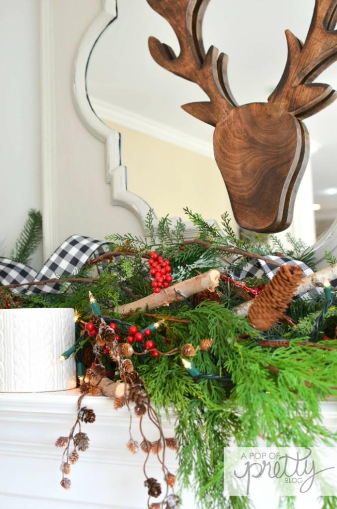 Christmas mantel red plaid