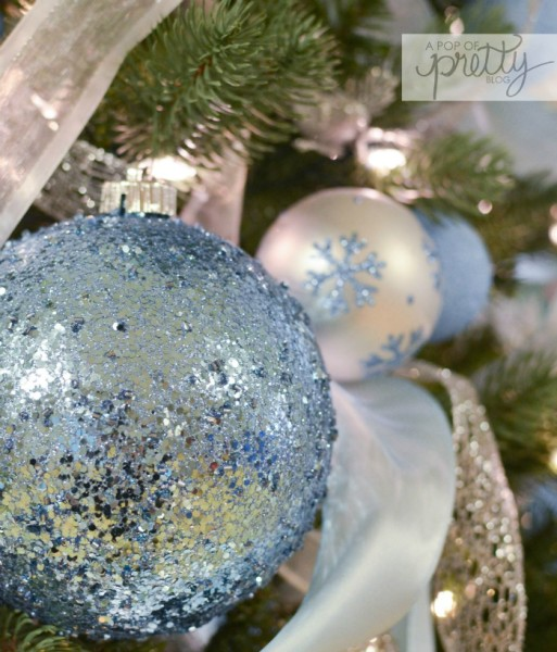 sparkly blue Christmas ball