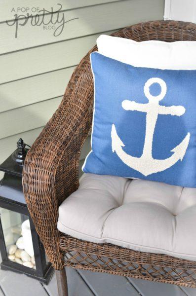 summer decorating anchor pillow
