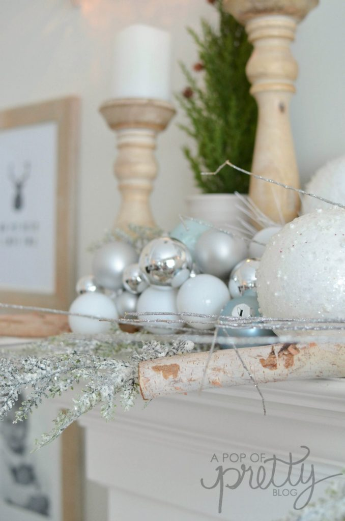 Winter Wonderland Christmas decorating theme mantel