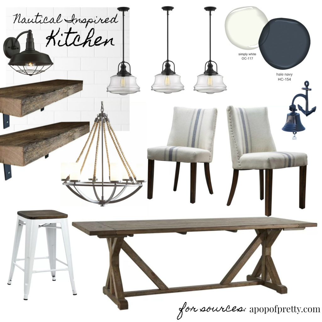 navy and white kitchen decor mood board 2