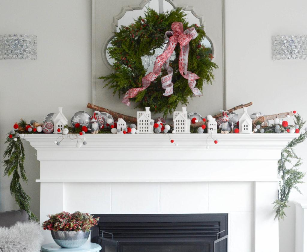 Nordic Christmas fireplace display