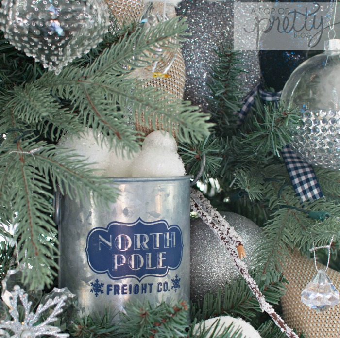 navy blue Christmas tree decor