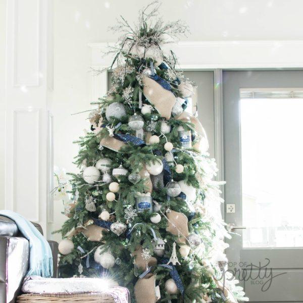 Silver And Navy Christmas Decor (Christmas Home Tour 2017