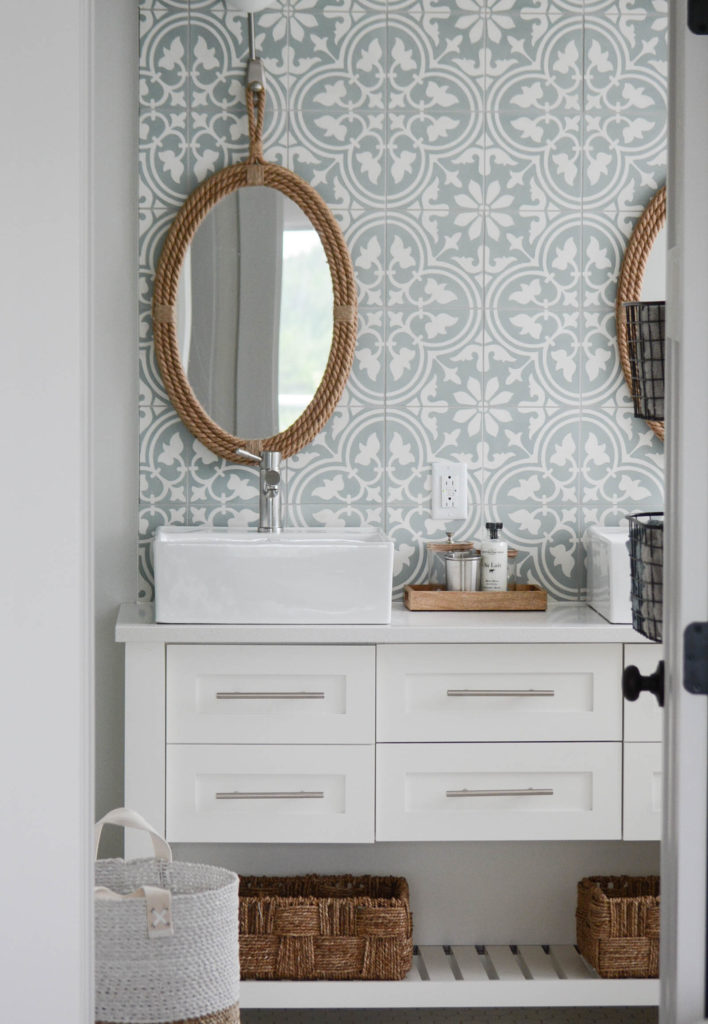 Modern cottage bathroom with cement tile wall