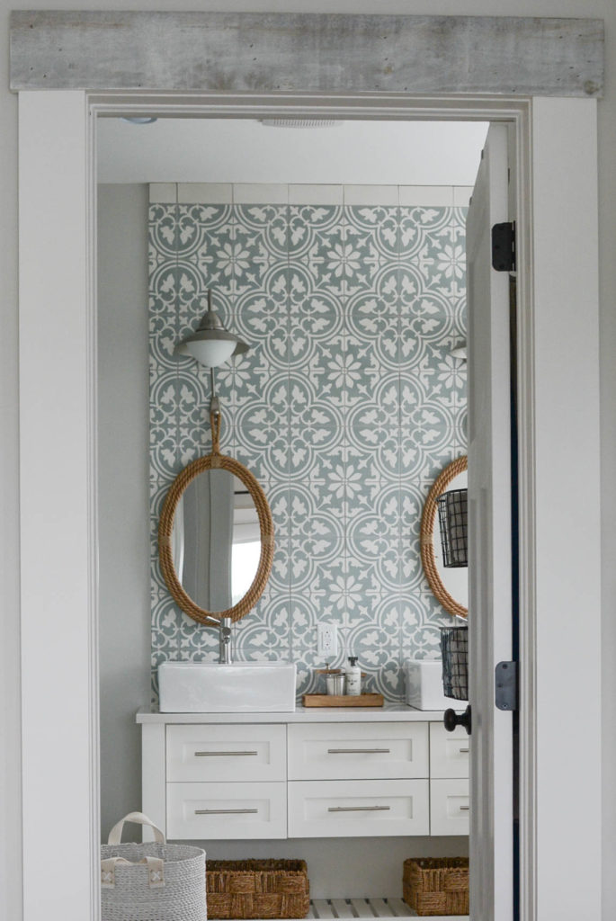 Modern cottage bathroom with seagrass mirrors