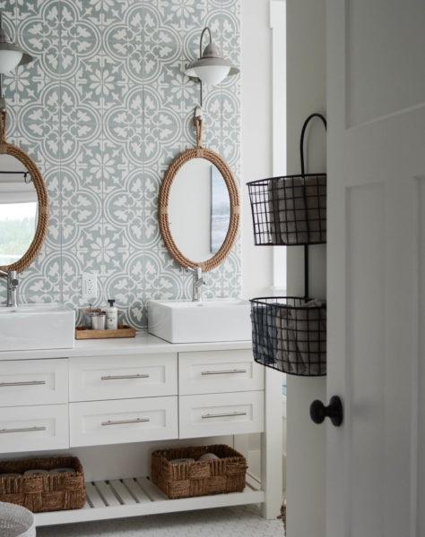 bathroom cement tile wall