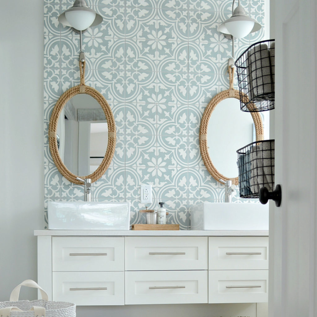 patterned cement tile in ensuite