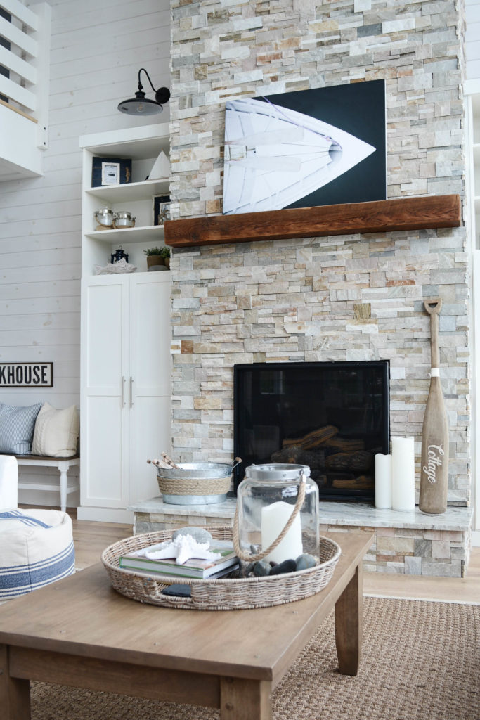 lakehouse coastal cottage fireplace