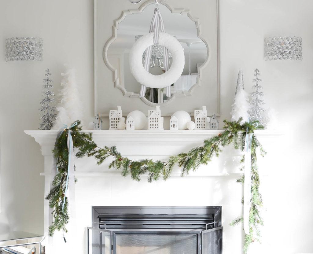 Simple White Christmas Home Tour 2018 Mantel - A Pop of Pretty Blog