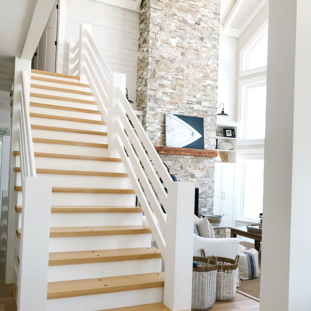 modern coastal style cottage staircase
