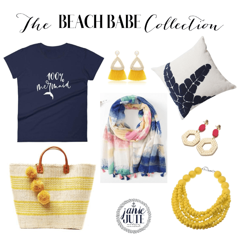JanieJute modern coastal home decor , t shirt, coastal jewelry, beach bags