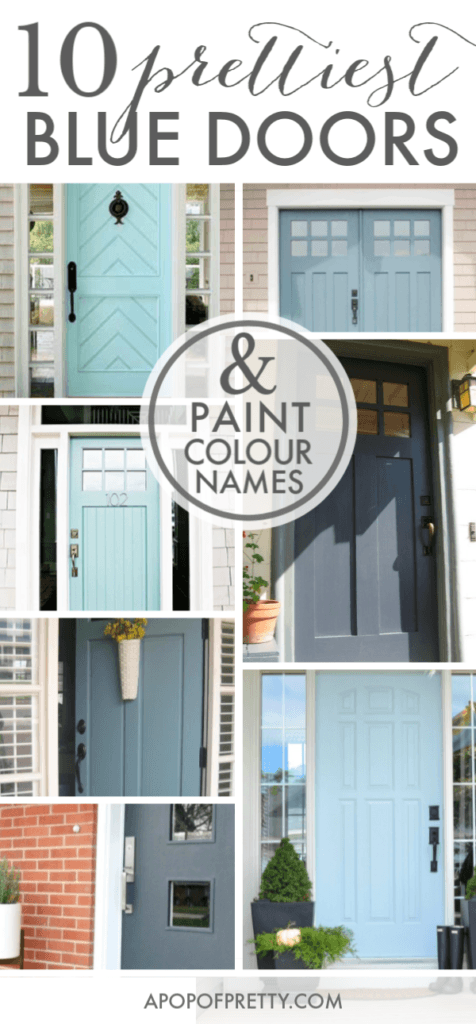 Front door design - 10 blue doors with paint colour names