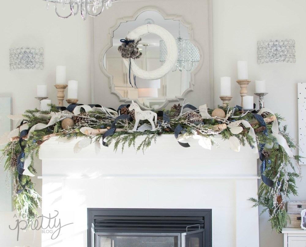 Hang greenery on a mantel for Christmas - 2 ways