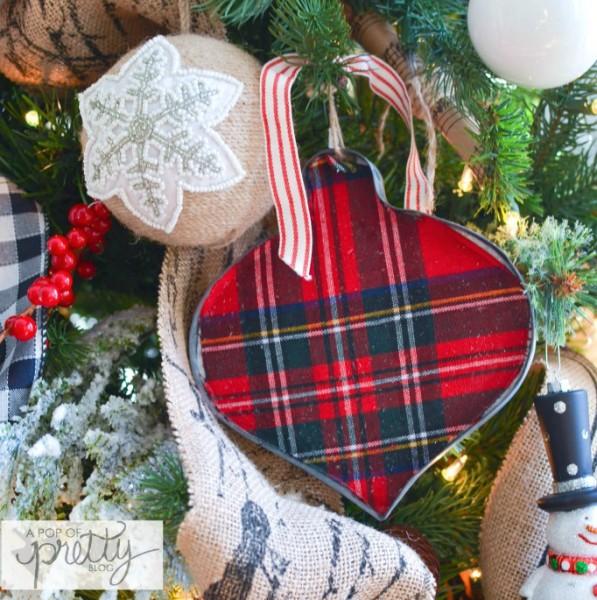 plaid tree ornament hung with ribbon