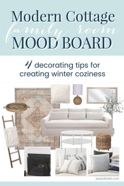 Modern Cottage Family Room Mood Board