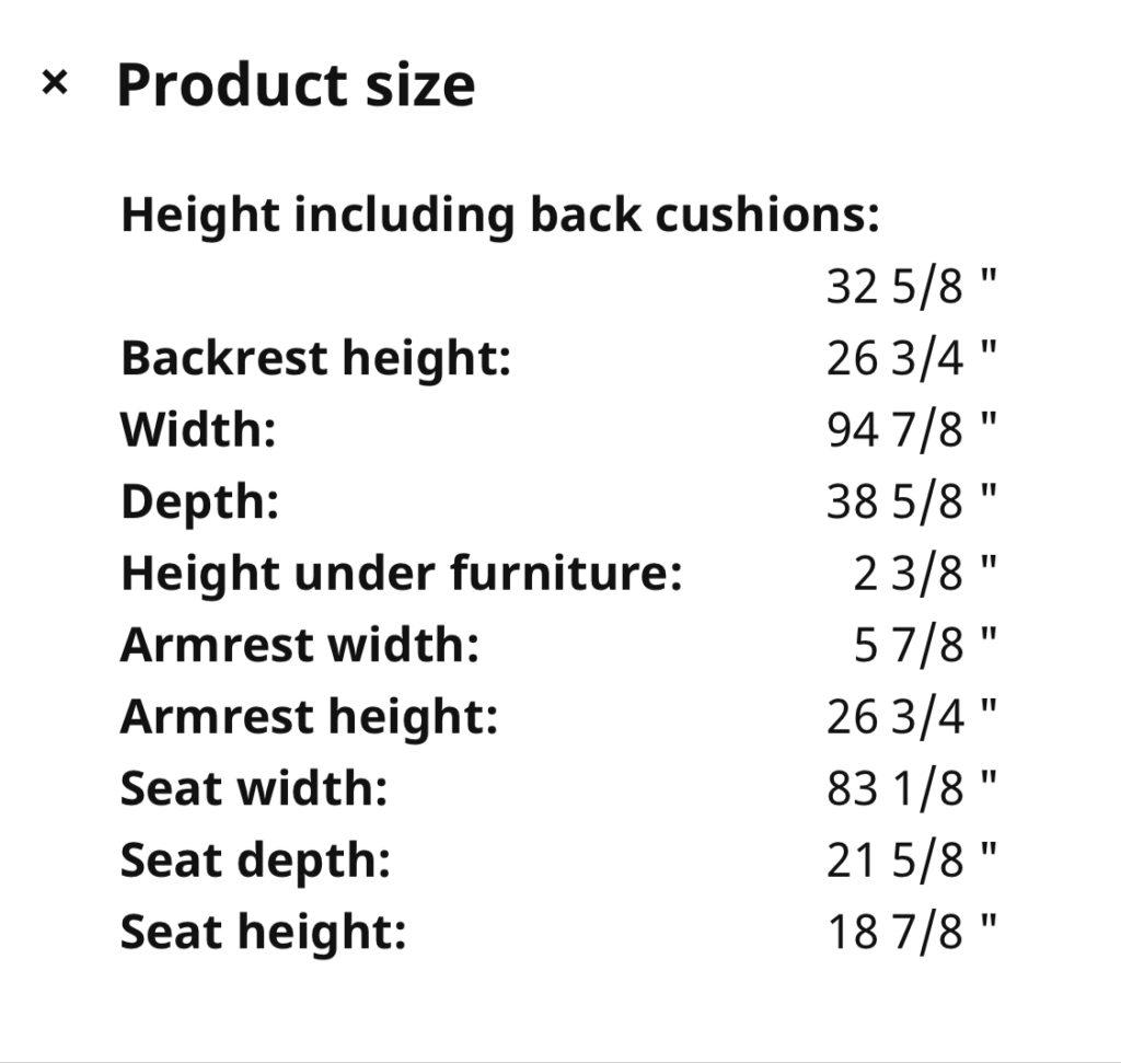 IKEA Vimle vs Finnala size