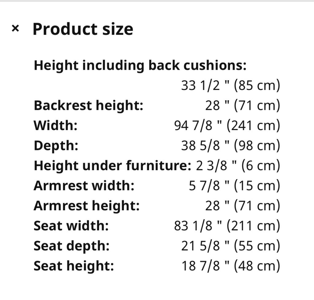 IKEA Finnala sofa dimensions