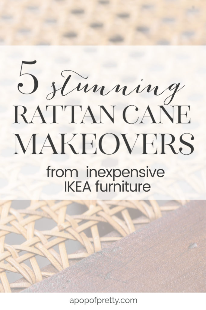 Get the look of an expensive, coastal inspired rattan cane furniture piece by upgrading  inexpensive IKEA furniture with webbed caning material.  These 5 IKEA cane hacks will rock your world.  See how a Billy bookcase was transformed into something spectacular.
