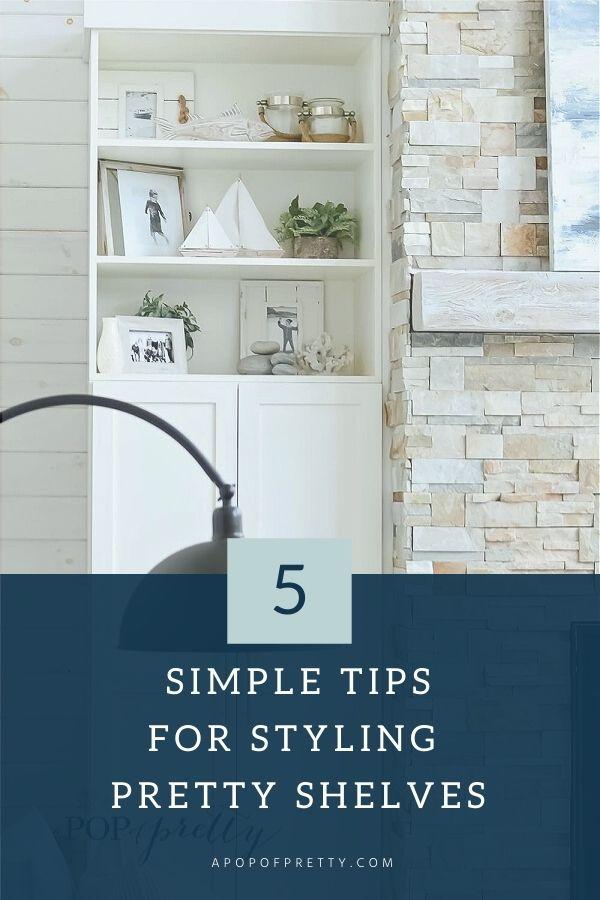 Shelf styling with neutral shelf decor