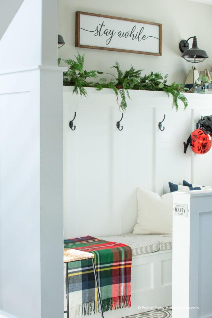 Christmas decor mudroom