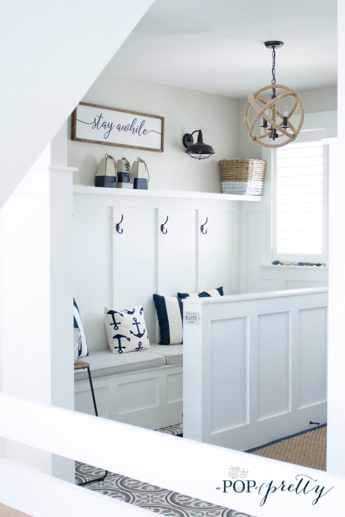 mudroom with neutral walls