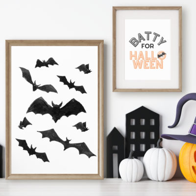 Halloween Free Printable (Watercolour Bats)