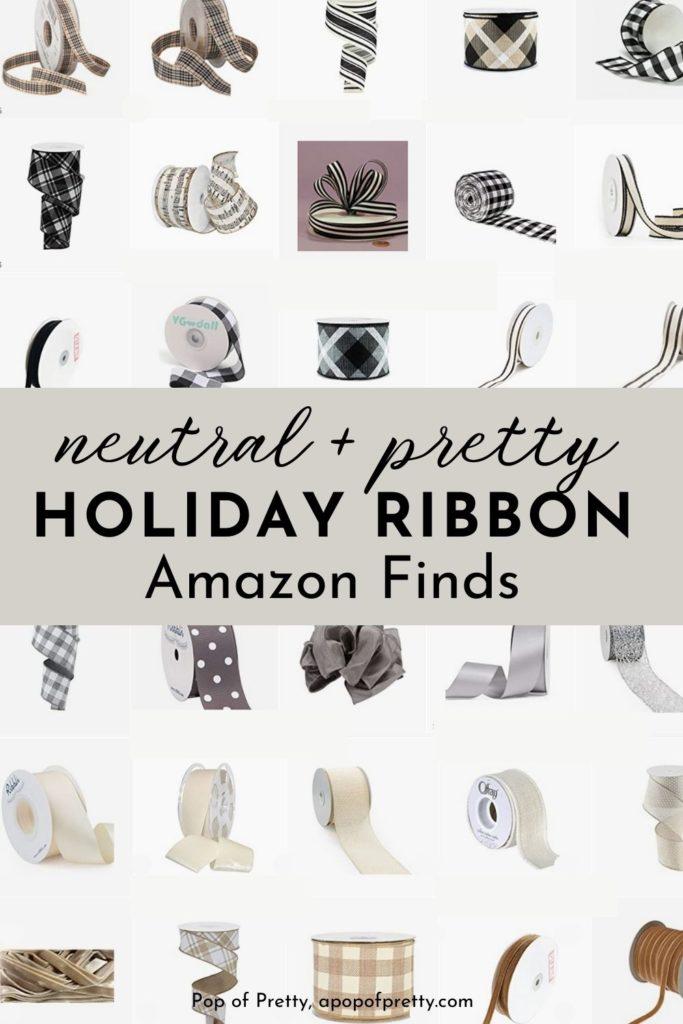 neutral holiday ribbon Amazon